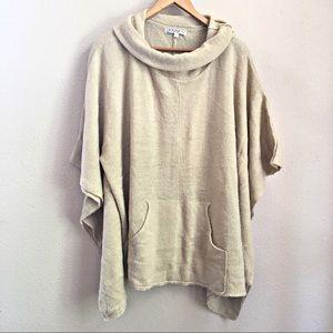 Joy Joy Beige Cowl Neck Cape Sweater Womens M/L